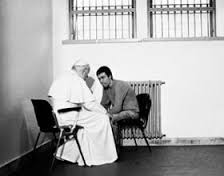 B & W of Pope and Agca