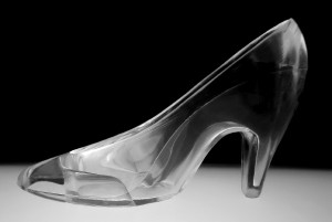 an illuminated glass slipper in Black and White