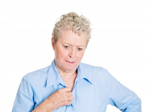 Portrait upset worried old woman isolated on white background