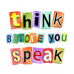 Illustration depicting cutout printed letters arranged to form the words think before you speak.